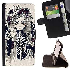 Momo Phone Case / Flip Funda de Cuero Case Cover - Esqueleto de la muchacha mujer de la novia floral - LG G4
