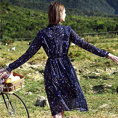 In Abito A Gonna Di Palace Lunghe Sottile E Floral Temperamento Blue Hechen Vita Vintage Chiffon Maniche Fresca RXqdPFP