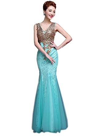 Erosebridal Elegant Mermaid Straps Lace Cheap Evening Prom Dresses Aqua Size 2