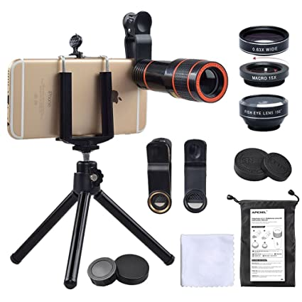 32501e49c3e93f Cell Phone Camera Zoom Lens Kit, 4 in 1 HD 12X Optical Telescope Zoom Lens+