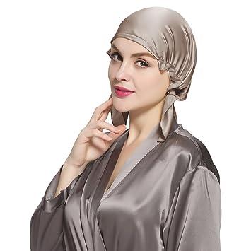 bas prix 3d44b 74c70 LILYSILK Bonnet de Nuit en Soie Pure Femme Bonnet Chapeau pour Cheveux  Longs Bonnet de Sommeil Coiffure Soin Cheveux 19 Momme Bistré