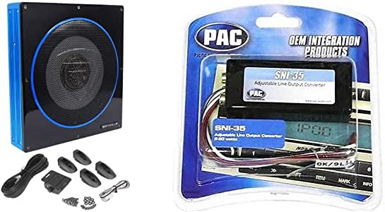 "Rockville RW10CA 10"" 800 Watt Slim Low Profile Active Powered Car Subwoofer Sub Bundle with PAC SNI-35 Variable LOC Line Out Converter"