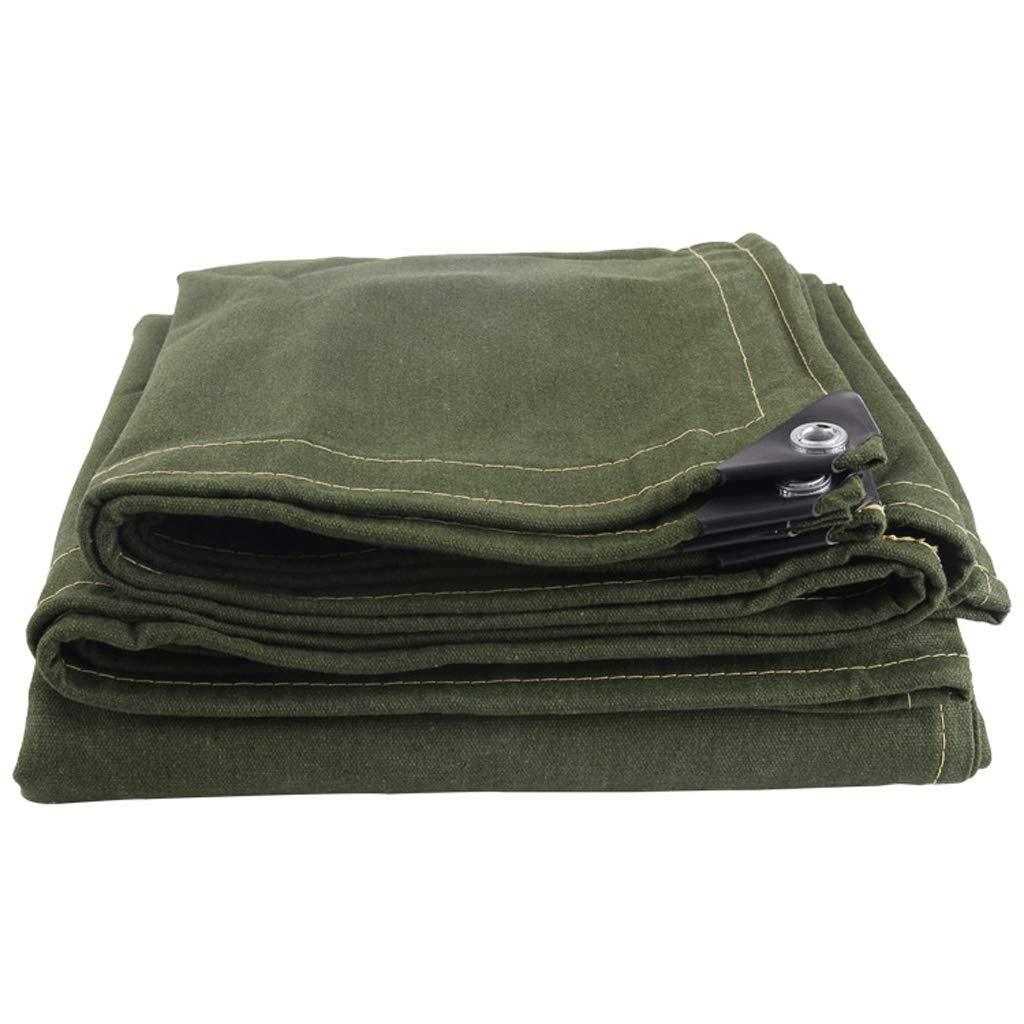 JLZS-Tarpaulin Baumwoll-Außenverdickung alte Segeltuch-Sonnencreme-Sonnencreme Verschleißfeste Wasserdichte Tuch-LKW-Plane (Farbe   Grün, größe   4  8)