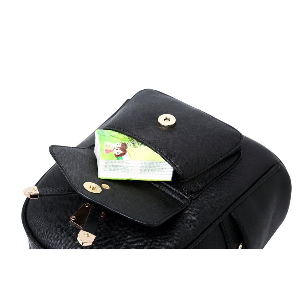 WINK KANGAROO Fashion Shoulder Bag Rucksack PU Leather Women Girls Ladies Backpack Travel bag (Black Small Size) by WINK KANGAROO (Image #6)