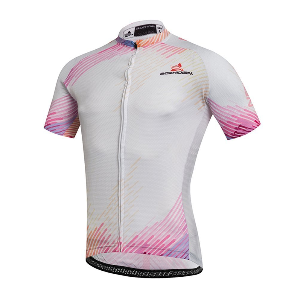 Abold Women 's Short Sleeve Cycling Jersey B078N1RQN6 Large|ピンク ホワイト ピンク ホワイト Large