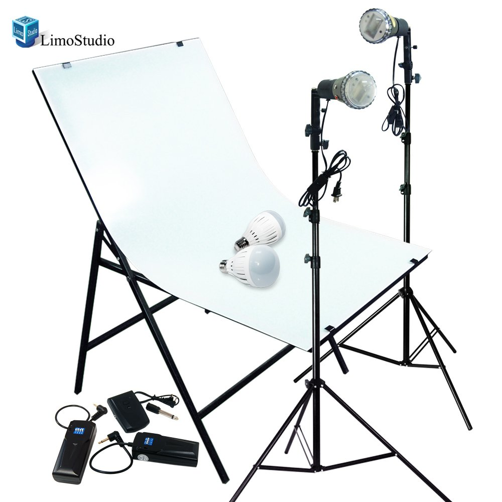 LimoStudio Photography Photo Studio Foldable Photo Shooting Table with Slave Strobe Flash Stand Lighting Kit, Continuous LED Lights and Trigger, AGG1478 by LimoStudio