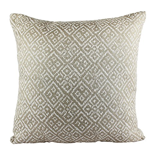 Homey Cozy Jacquard Textile Throw Pillow Cover,Beige Series Taupe Beige Woven Diamond Decorative Square Couch Cushion Pillow Sham Case 20 x 20 Inch, Cover Only (Pillows Throw Oversized Sofa)
