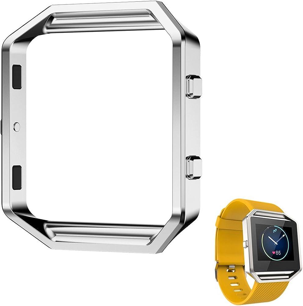 AISPORTS - Marco para Fitbit Blaze, marco de acero inoxidable, carcasa de repuesto para reloj inteligente Fitbit Blaze