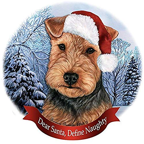 (Cheyan Welsh Terrier Black and Tan Santa Hat Dog Porcelain Christmas Tree Ornament)