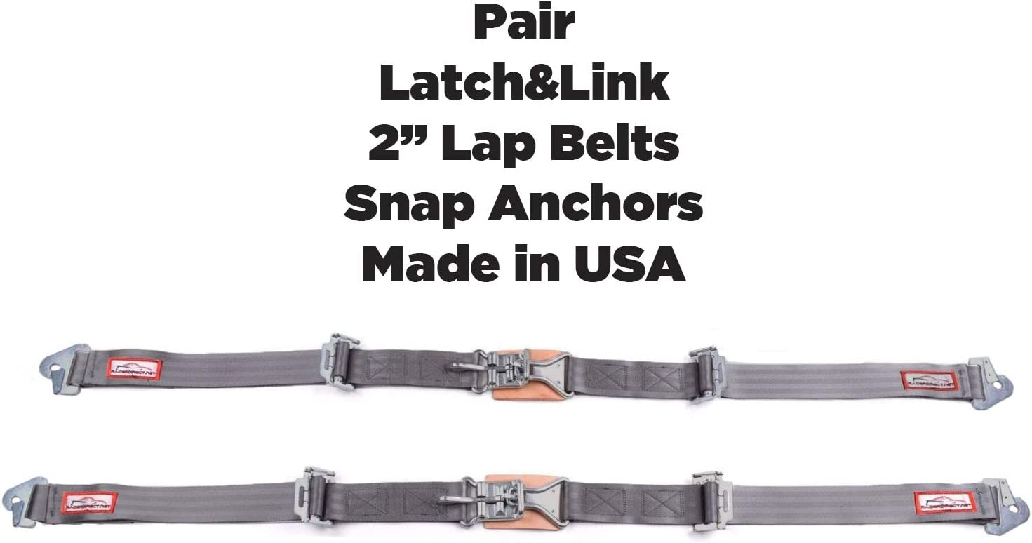 RACERDIRECT New Pair 3 Latch /& Link Lap Belt 2 Point Racing Belt SNAP Yellow