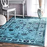 nuLOOM 200MCGZ02A-8010 Traditional Vintage Inspired Overdyed Floral Turquoise Rug (8-Feet X 10-Feet)
