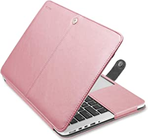 MOSISO MacBook Pro 15 inch Case, Premium PU Leather Book Folio Protective Stand Cover Sleeve Compatible with MacBook Pro 15 inch Retina (A1398, Version 2015/2014/2013/end 2012), Rose Gold