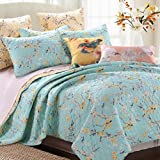 Quilt Set with Shams 3 Piece Brushed Microfiber Cottage Style Floral Birds Tree Branches Design Blue Yellow Bedding Luxury Reversible Bedspread Oversized King/Cal King Size - Includes Bed Sheet Straps