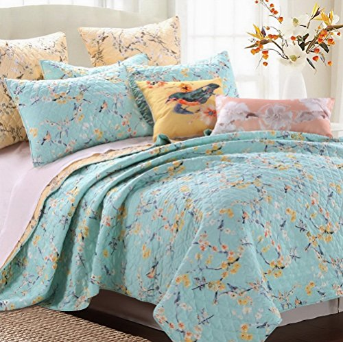 Quilt Set with Sham Chic Brushed Microfiber Cottage Style Floral Birds Tree Branches Design Blue Yellow Peach Bedding Luxury Reversible Bedspread Single Twin Size - Includes Bed Sheet Straps (Quilted Cotton Single Face Fabric)