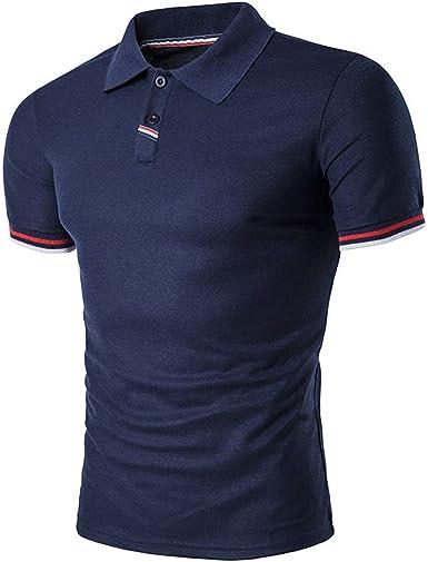 Polo para Hombre de Manga Corta Algodón Camisas Casual Blusa Slim ...