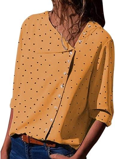 TOPKEAL Camisa Holgada de Verano de Lunares Casual para Mujer Camisa de Manga Larga con Cuello de Botones de Moda: Amazon.es: Ropa y accesorios