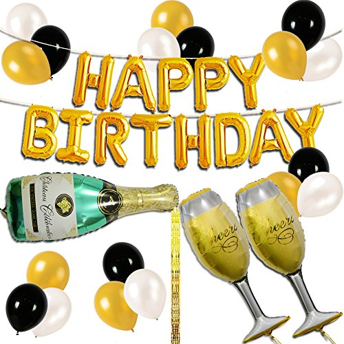 UTOPP Happy Birthday Letter Party Balloons Banner, Gold Decoration Party Supplies Champagne Bottle Goblet Big Foil Mylar Foil Balloons Thick Latex Balloons Gold Black White for Party Decoration