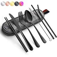 Portable Utensils Silverware Flatware Set 8-Piece Cutlery Set Including Knife Fork Spoon Chopsticks Straws Portable Bag…