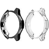 Jasinber 2-Pack Suave TPU Funda Carcasa Case para Samsung Galaxy Watch 46mm / Gear S3 Frontier (Negro + Transparente, 46mm)