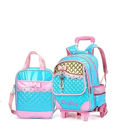 2279c064bad0 Meetbelify Rolling Backpacks for Girls School Bags Trolley Handbag with  Lunch Bag Blue