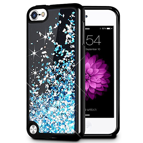 Caka iPod Touch 6 Glitter Case [Starry Night Series] Luxury Fashion Bling Flowing Liquid Floating Sparkle Glitter Girly Soft TPU Case for iPod Touch 5/6 - (Blue) ()