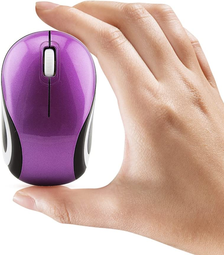 Mini Small Wireless Mouse for Kids Children 3-7 Years Old Child Size Optical Portable Mini Cordless Mice with USB Receiver for Laptop Computer (Purple)