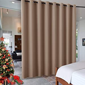 RYB HOME Bedroom Room Divider Curtain Screen Curtain for Home Theatre, Insulated Blackout Vertical Blind Split a Room Create Privacy for Loft, Width 15 ft by Tall 8 ft, 1 Panel
