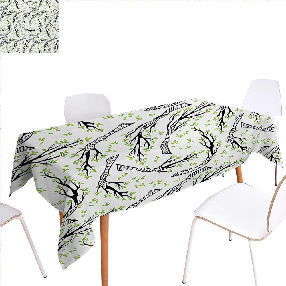 "familytaste Leaf Dinning Tabletop Decoration Minimalist Branch Patterns with Wavy Lines and Tiny Spring Leaves Dreamlike Floral Table Cover for Kitchen 60""x90"" Black Green"