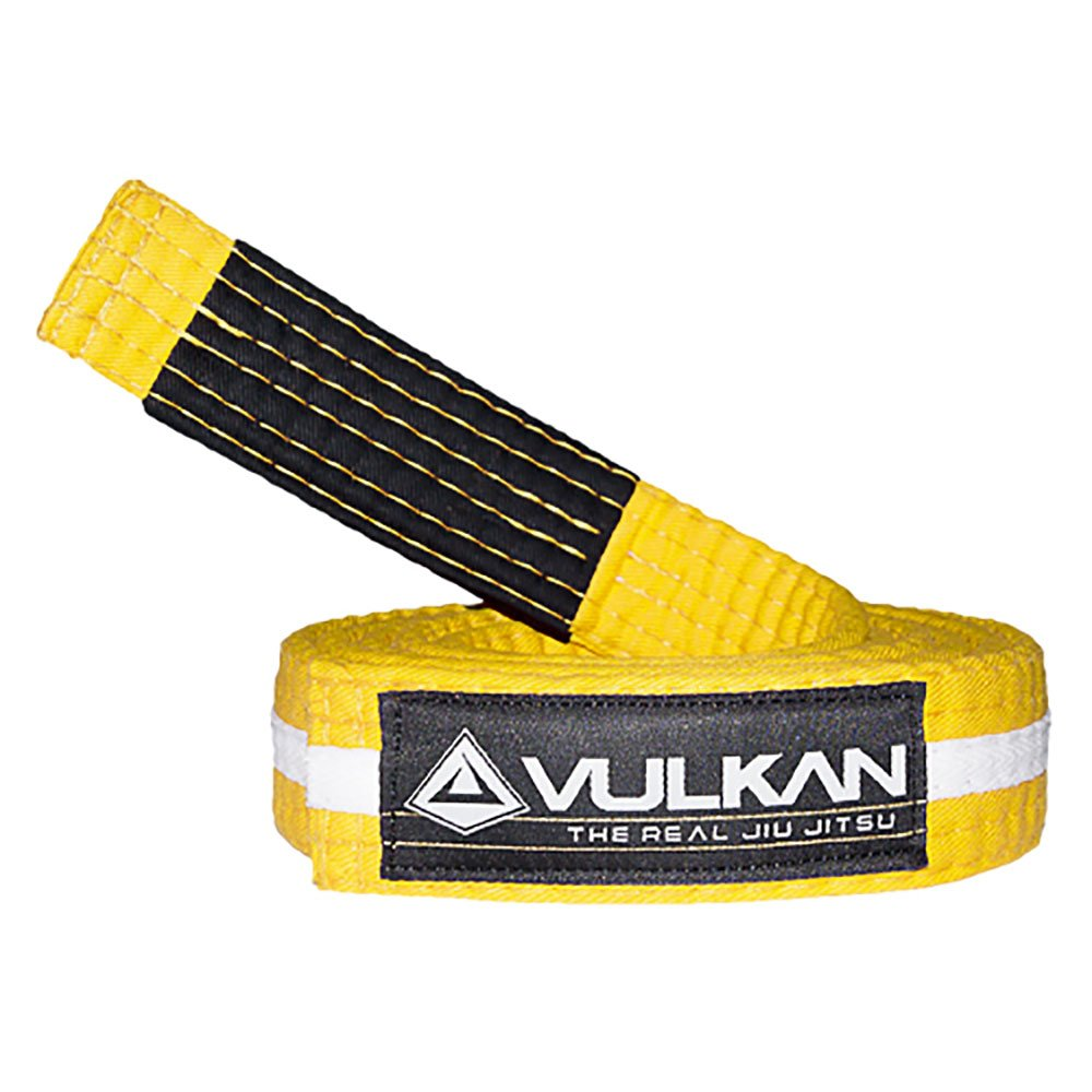 Vulkan Fight Company Brazilian Jiu Jitsu, BJJ Kids Belt for Martial Arts Sports, Yellow White, M2 by Vulkan