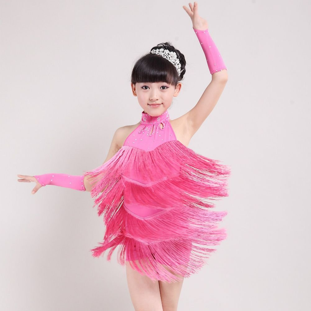 15de44c3da Amazon.com  Gsha Kid Girls Latin Salsa Dress Sleeveless Halter Tassel  Dancewear 4-11 Year  Clothing