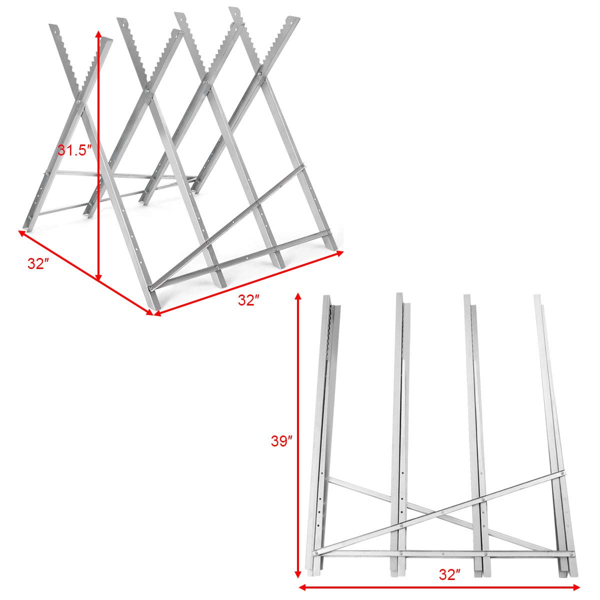 Goplus Portable Sawhorse Heavy Duty Adjustable Steel Work Support Foldable Sawhorse Stand 220 lbs Weight Capacity by Goplus (Image #4)