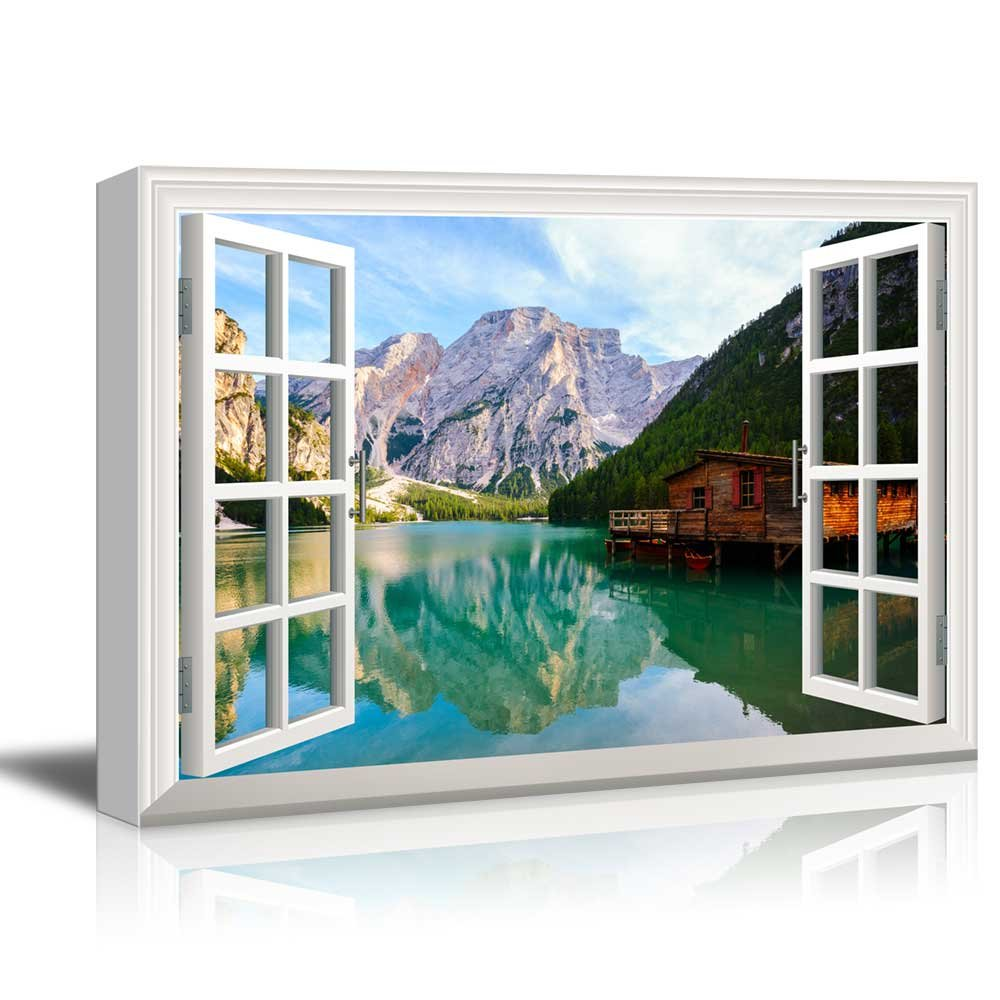 Window View Nature Landscape Lake and Wood Cottage in Mountains Gallery 16x24 inches