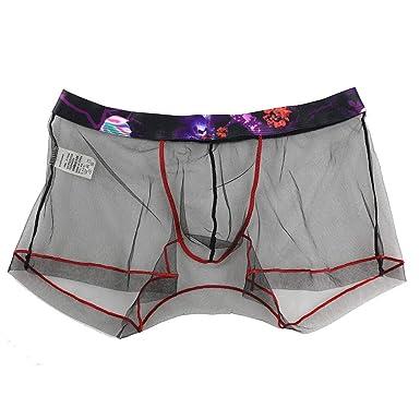 131e1da45b39 U.Expectating Sexy Men Mesh Transparent Underwear Comfortable Men Patchwork  Boxer Briefs Pouch Soft Underpants: Amazon.co.uk: Clothing