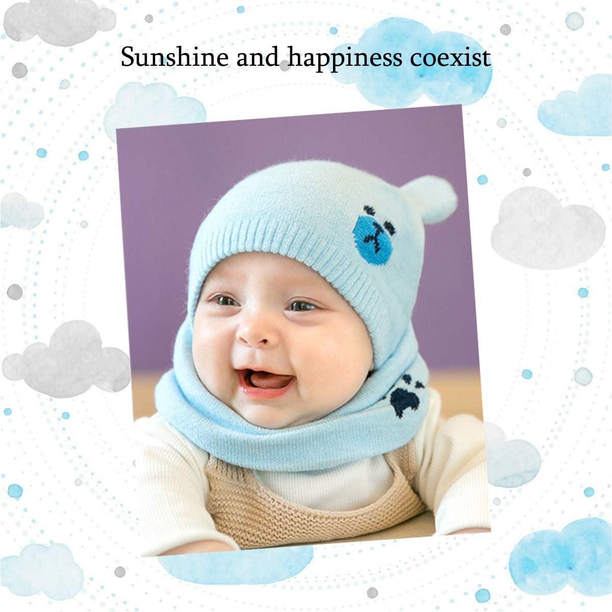 Blue ZONSUS ADESUGATA Baby Boy Girl Cute Baby Winter Hats Scarfs Set,Toddler Children Warm Beanie Hat Knit Soft Cotton Caps Scarves for Infant Kids 0-36Months