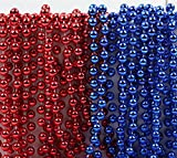 fourth of july party supplies - Andaz Press Mardi Gras Plastic Bead Necklaces Duo for July 4th Superhero Birthday Party Favors and Table Centerpiece Decorations, Red and Royal Blue, 24-Pack