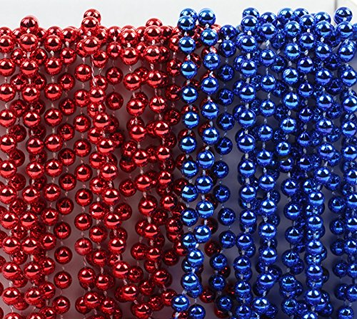Andaz Press Mardi Gras Plastic Bead Necklaces Duo for July 4th Superhero Birthday Party Favors and Table Centerpiece Decorations, Red and Royal Blue, (Fourth Of July Centerpieces)