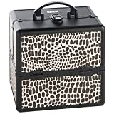 Beautify Cosmetic Organizer Case - 10' Professional Aluminum Makeup Storage Box (Black Crocodile Print Beauty Train Case with Lock)