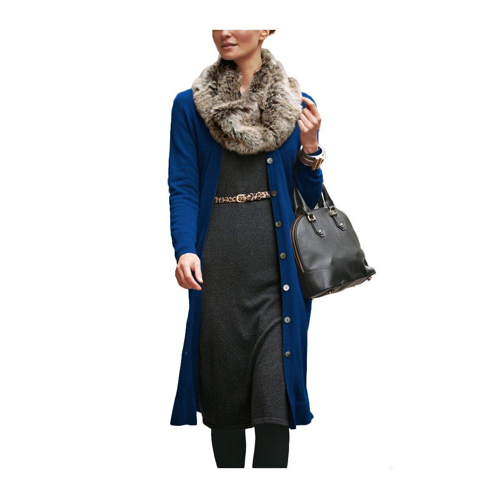 Parisbonbon Women's 100% Cashmere Low Neck Cardigan Color Blue Size L