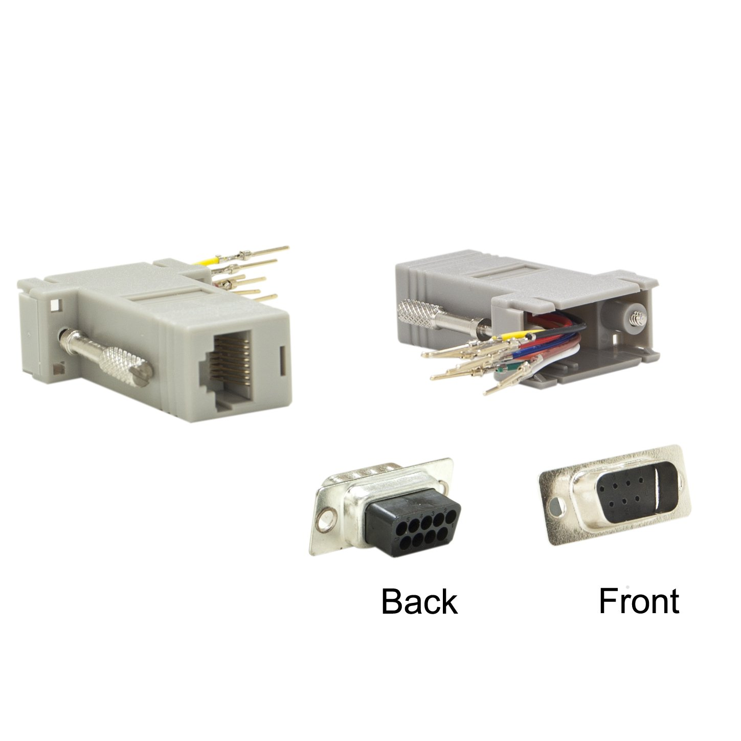 ACL DB9 Male to RJ45 Jack Modular Adapter, Gray, 50 Pack by ACL