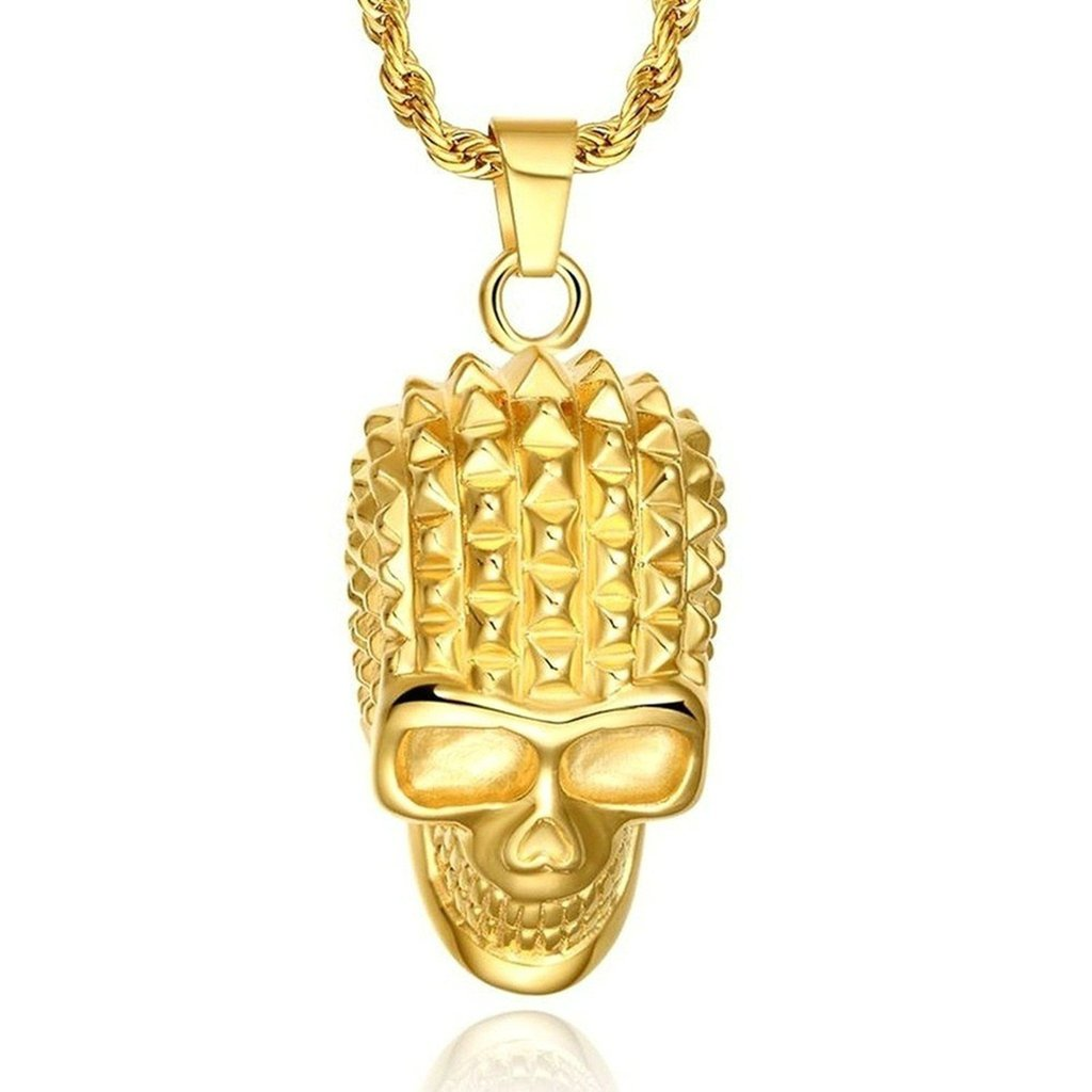Mens Stainless Steel Plated Skull Gold Plated Pendant Necklace Cool Skull Head Gnzoe Jewelry