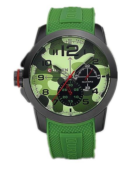 El mundo de la moda al aire libre de CURREN Wishar Militar del cuarzo de los hombres de la forma de correa de silicona reloj de pulsera para mujer: ...