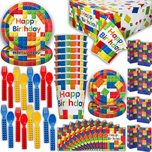 Building Block Party Supplies 16 guest - Large and Small Plates, Cups, Lego Compatible Forks and Spoons, Tablecloth, Napkins, Loot Bags - Perfect Tableware for Brick Theme Birthday Parties.
