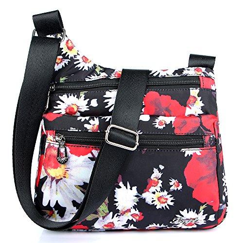STUOYE Nylon Multi-Pocket Crossbody Purse Bags for Women Travel Shoulder Bag Daisy