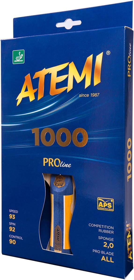 Atemi Proline 1000 Raqueta De Tenis De Mesa | Control Y Poder Superior |Goma Aprobada por La ITTF| Materiales Naturales | Ideal para Todos Los Niveles | Empaque, Colores Y Manijas ACTUALIZADAS