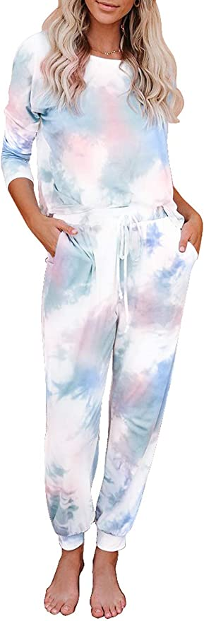 CANIKAT Women's Tie Dye Printed Long Sleeve Tops and Pants Long Pajamas Set Joggers PJ Sets Nightwear Loungewear