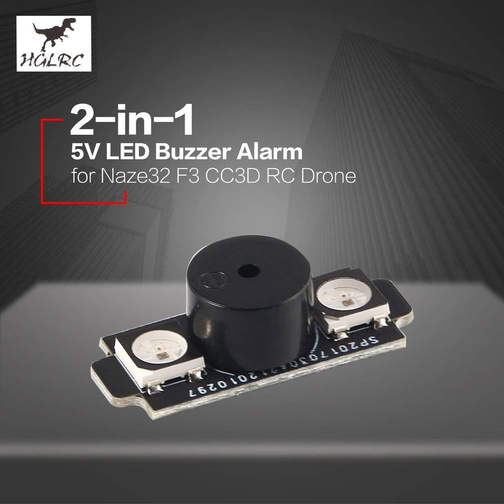 Colore: Nero HONGIRT HGLRC WS2812B 5V 2-in-1 colorato LED Base Motore Luce con Allarme cicalino per Naze32 F3 CC3D Flight Control FPV RC Racing Drone