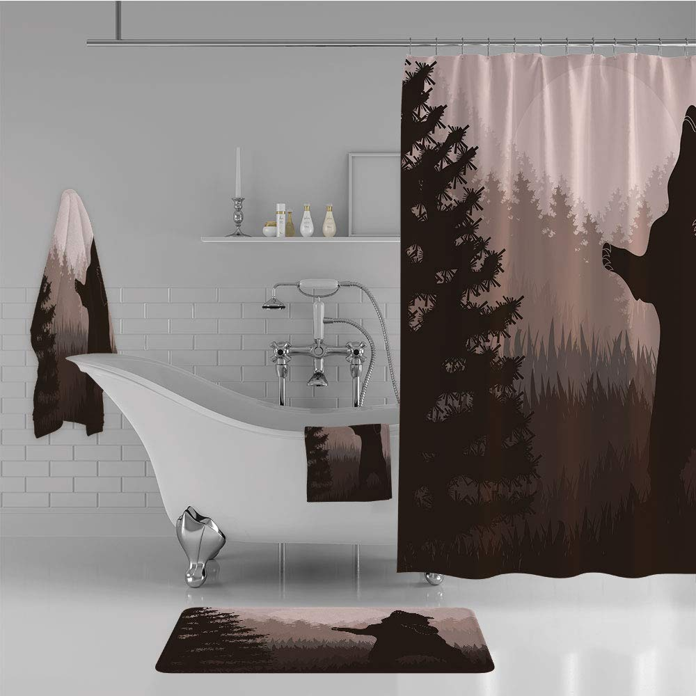 Bathroom 4 Piece Set Shower Curtain Floor mat Bath Towel 3D Print,Bear in Jungle Woodland at Dark Night Animal,Fashion Personality Customization adds Color to Your Bathroom.