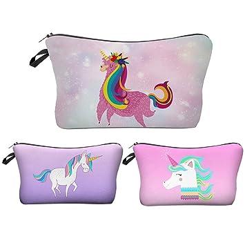 Amazon.com: JOM tokoy unicornio 3pcs/set bolsa de cosméticos ...