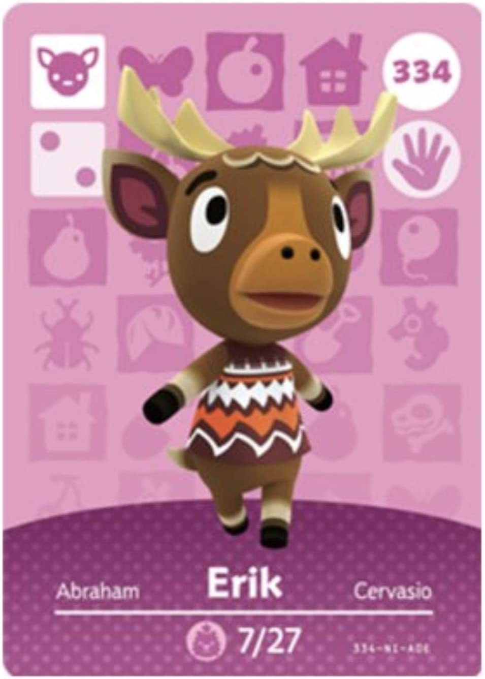 No.334 Erik Animal Crossing Villager Cards Series 4. Third Party NFC Card. Water Resistant