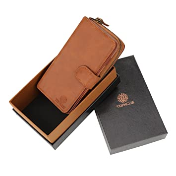 top4cus lujo PU Leather Folio Con Tapa Cremallera Cartera Caso Con 11 ranuras para tarjetas &